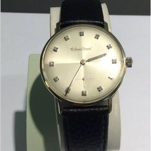 Lucien Piccard Diamond watch, black leather strap